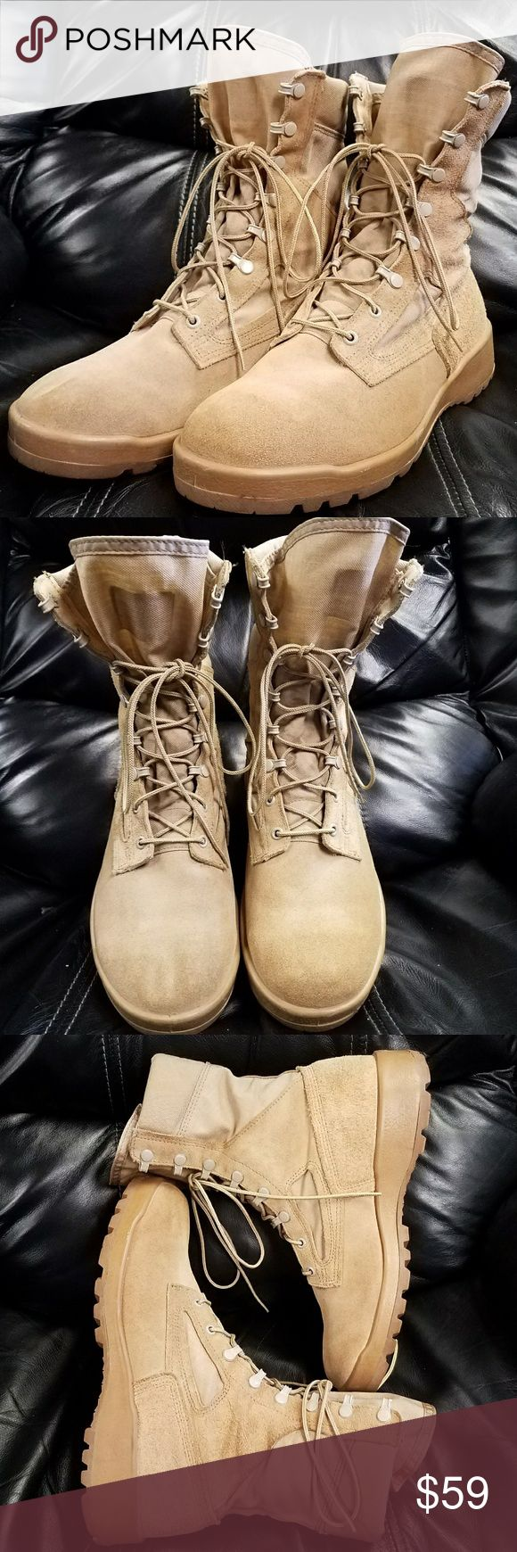 """Belleville 390 DES Hot Weather Desert Combat Boots These lace up tan military boots are ready for the sand with their leather/canvas combo! The F390 is constructed on a VIBRAM Sierra outsole that features a large lug pattern for all around traction. A Belleville shoe site says about the size: """"Belleville hot weather boots run 1 full size larger than your athletic/running shoe size. If you normally wear a size 10 in athletic shoes, consider ordering a size 9."""" See the pics for the good…"""