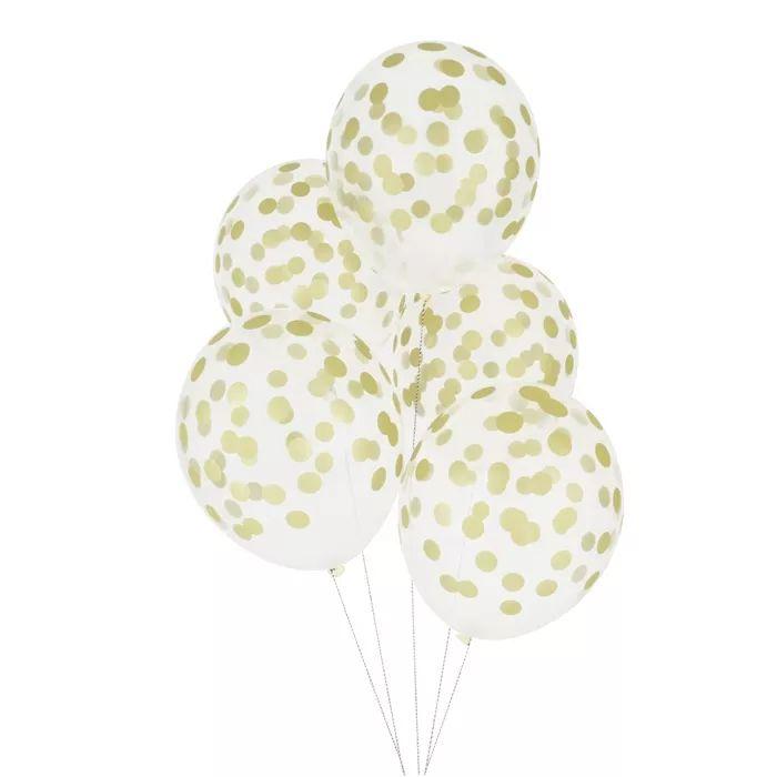 Partydeco.nl   Confetti Ballonnen Goud (5st)