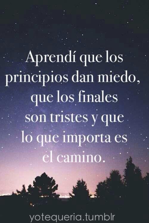 Aprendí que los principios dan miedo, que los finales son tristes y que lo que importa es el camino. #frases:
