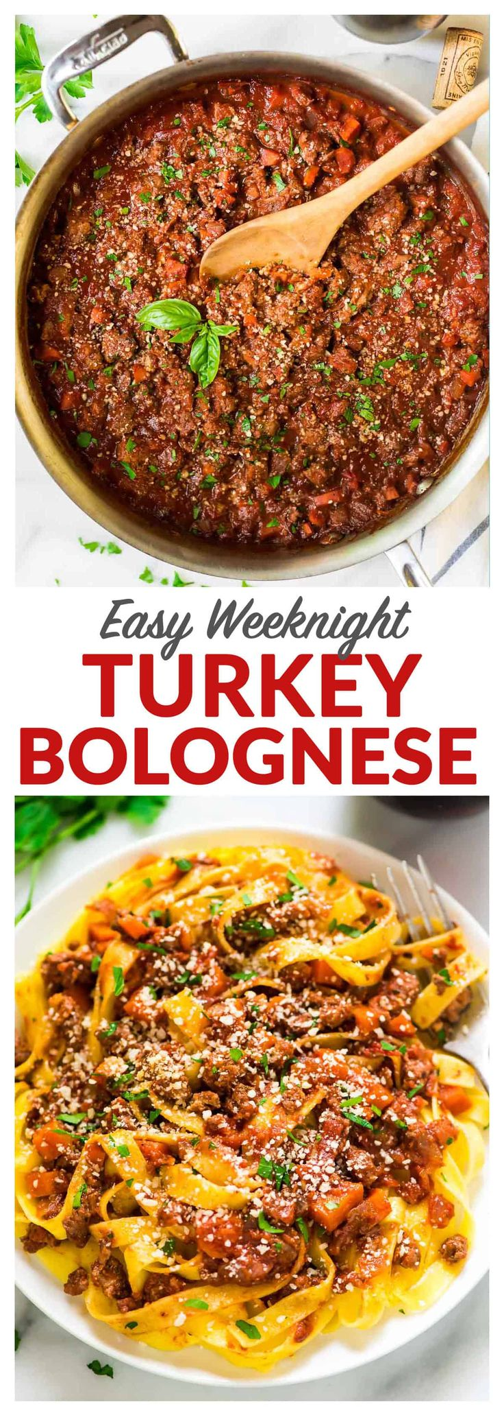 Turkey bologneseis an easy and healthy pasta sauce recipe.The thick, rich sauce tastes like it's been simmering all day, but it's ready in 45 minutes. Perfect for a weeknight dinner! #healthy #recipe #pasta #spaghetti