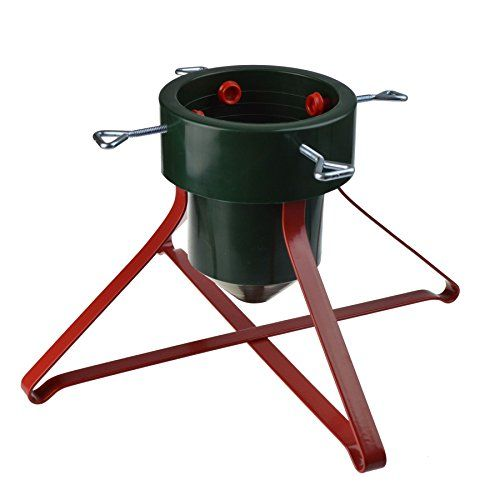 From 11.99 Harbour Housewares Traditional Christmas Tree Stand Metal Frame / Plastic Holder - Red & Green
