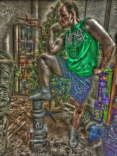 The Thinking Man FF oil painting, courtesy of PicsArt app for Android. Keep it LegenDARY!