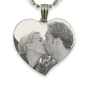 Rhodium Plate Large Curved Heart Photo engraved Pendant