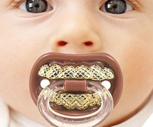 Gold Teeth Pacifier - baby grillz!