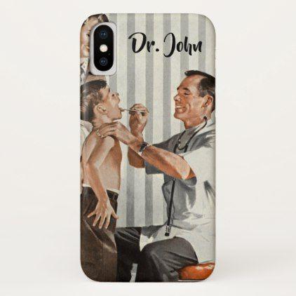 Vintage Medicine Doctor Seeing a Boy Patient iPhone X Case - nursing nurse nurses medical diy cyo personalize gift idea