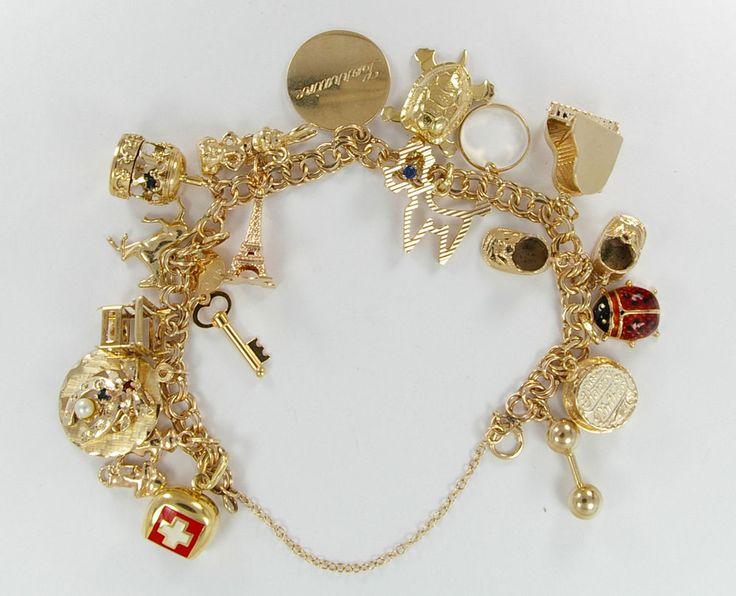 Vintage 14k Yellow Gold Link Charm Bracelet 10k 14k 18k Charms 46+ grams #Traditional