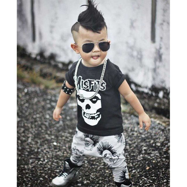 Newborn Boys Girls Baby Clothes Sets Jumpers Toddler Fall Skull Print Baby punk rock Harlan Pants Motorcycle Clothing