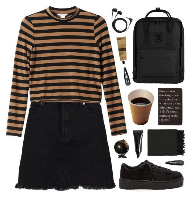 """""""In a different world"""" by tania-maria ❤ liked on Polyvore featuring Monki, Fjällräven, Rich and Damned, H&M, Sennheiser, Aesop, Surya and Forever 21"""