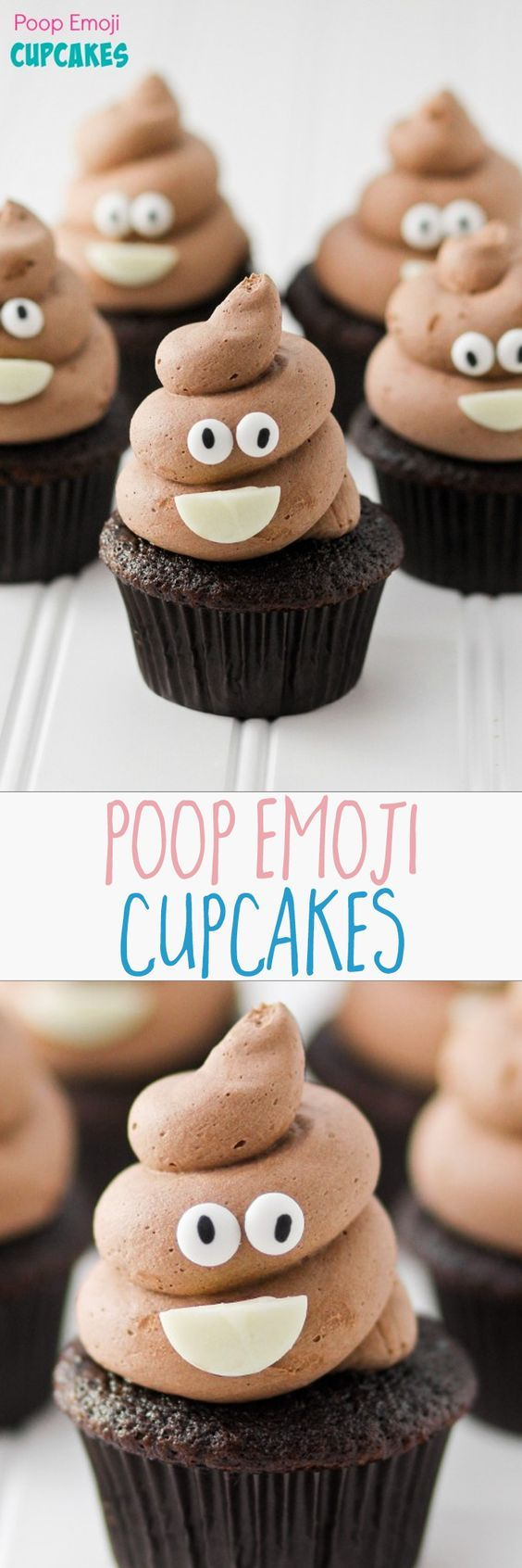POOP EMOJI CUPCAKES -- pin to make these for the kids. They are going to flip over these. Hilarious and so easy!