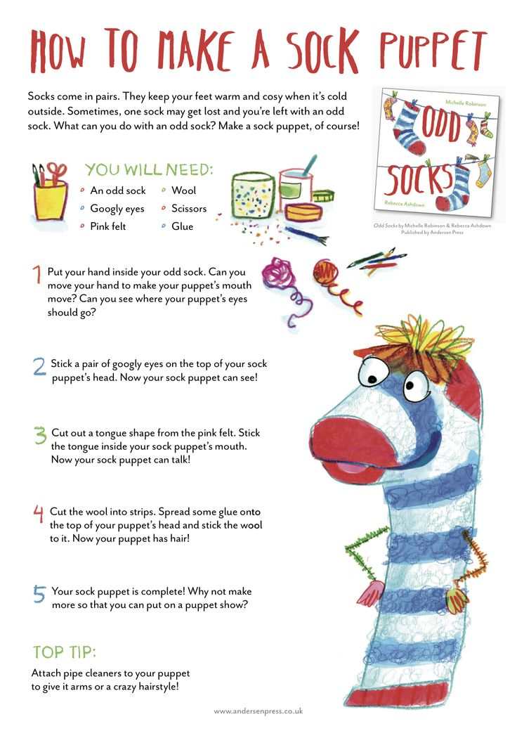Make a Sock Puppet - from ODD SOCKS, Michelle Robinson & Rebecca Ashdown, Andersen Press 2016