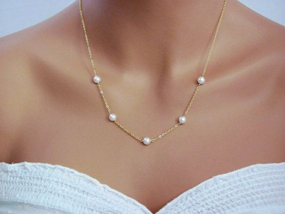 Delicate Gold Handwrapped Pearl Necklace simple by ACutieChick