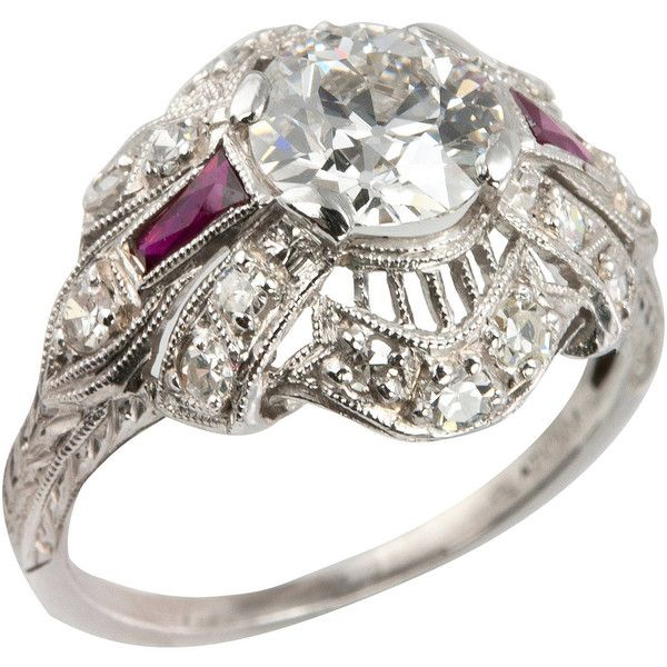 Preowned 1.10 Carat Old European Cut Diamond And Ruby Engagement Ring ($12,500) ❤ liked on Polyvore featuring jewelry, rings, multiple, pre owned engagement rings, engagement rings, diamond rings, filigree engagement ring and art deco ruby ring