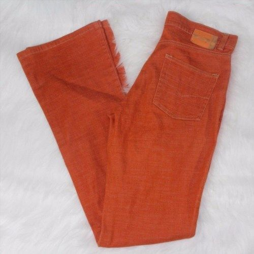 8.59$  Buy here - http://viyqx.justgood.pw/vig/item.php?t=j7d5los55562 - Stradivarius Espana (Zara Company) Orange Flare Boot cut Jean Sz 38 Us 8 Casual