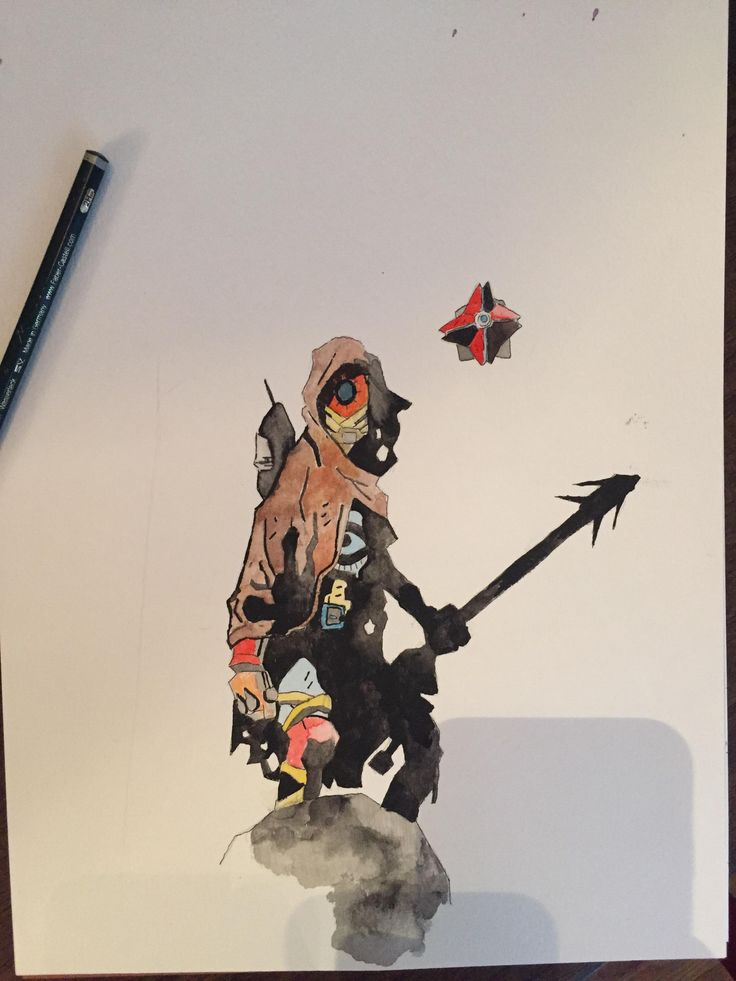 I painted a Hunter from Destiny in the vein of Mike Mignola (Hellboy)