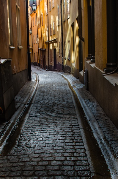 Small alley in the old town Stockholm Sweden.