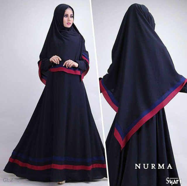 B091 baju gamis syari cantik nurma black