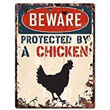 Attention protégé par une Poule Chic Panneau vintage rétro rustique 22,9x 30,5cm plaque en métal Porte pièce Maison Décoration murale