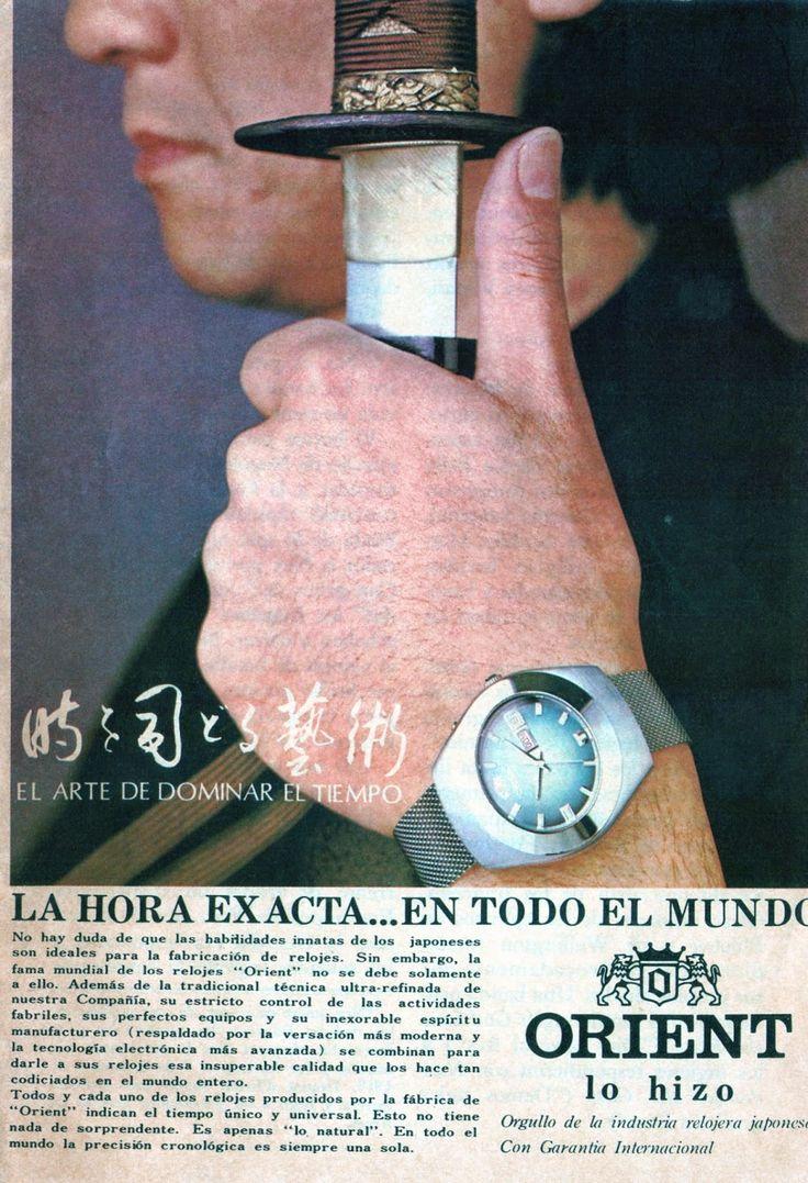 Publicidad del reloj Orient, América Latina año 1970