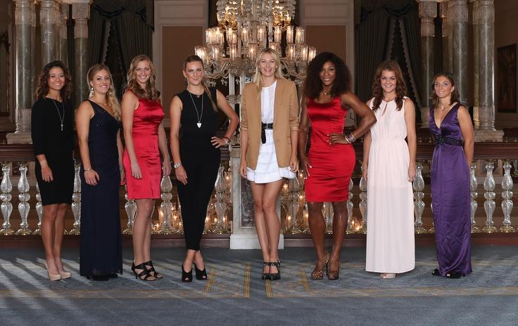 Li Na, Angelique Kerber, Petra Kvitova, Victoria Azarenka, Maria Sharapova, Serena Williams,  Agnieszka Radwanska and Sara Errani at 2012 WTA Tour Championships in Istanbul