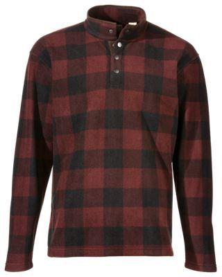 RedHead Fleece Snap Mock Shirt for Men - Rum Raisin - XL