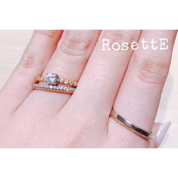 【RosettE】 . DEWDROP~しずく~ . ふたりの思い出は 色あせない光の連なり これまでも これからも . #RosettE #ロゼット #婚約指輪 #結婚指輪 #エンゲージリング #engagementring #マリッジリング #marriagering #アンティーク #antique #重ね付けリング #diamond #happy #love #instagood #instafollow