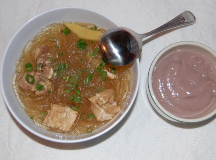"""It was so cold the other night, that I decided to make chicken long rice. It's an all time favorite dish here in Hawaii. It is comfort food, especially warming for everyone's tummy and spirit! I made a large pot of it and it was gone!!! The little bowl that you see in my photo is """"poi"""" taro."""