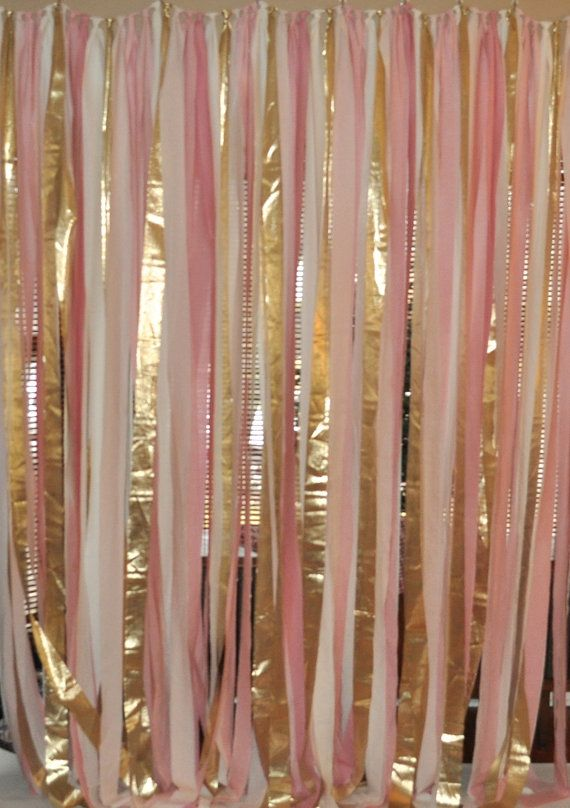 Blush pink and gold hand dyed Fabric backdrop by PenelopeandLala