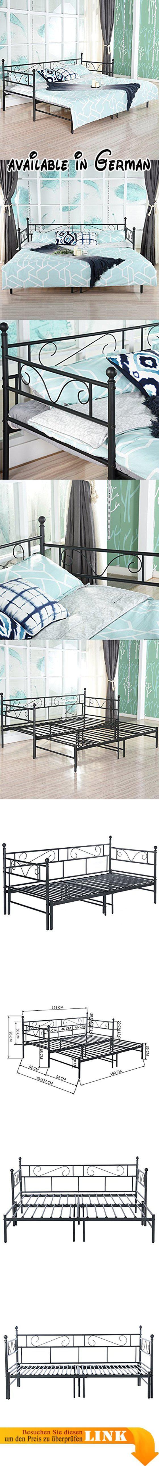 B078818VH6 : EGGREE Tagesbett Versailles Weiß Metall Single Sofa Optionen  Für Ausziehbett Tagesbett Mit Unterbett Trundle