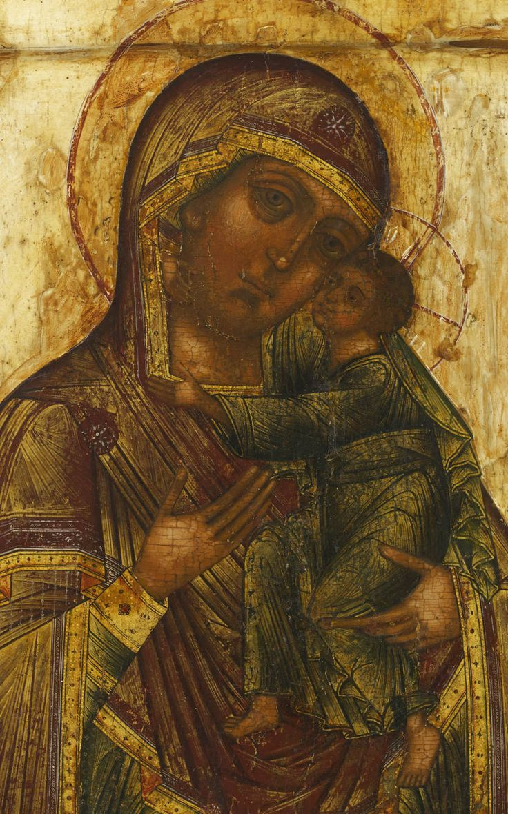 Detailed view: RR003. Virgin of the Donskaya- exhibited at the Temple Gallery, specialists in Russian icons