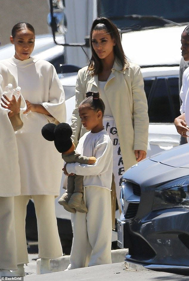 Kim Kardashian Leaves Kanye S Sunday Service In Trust God Sweats Kim Kardashian Kardashian Cute Outfits For Kids