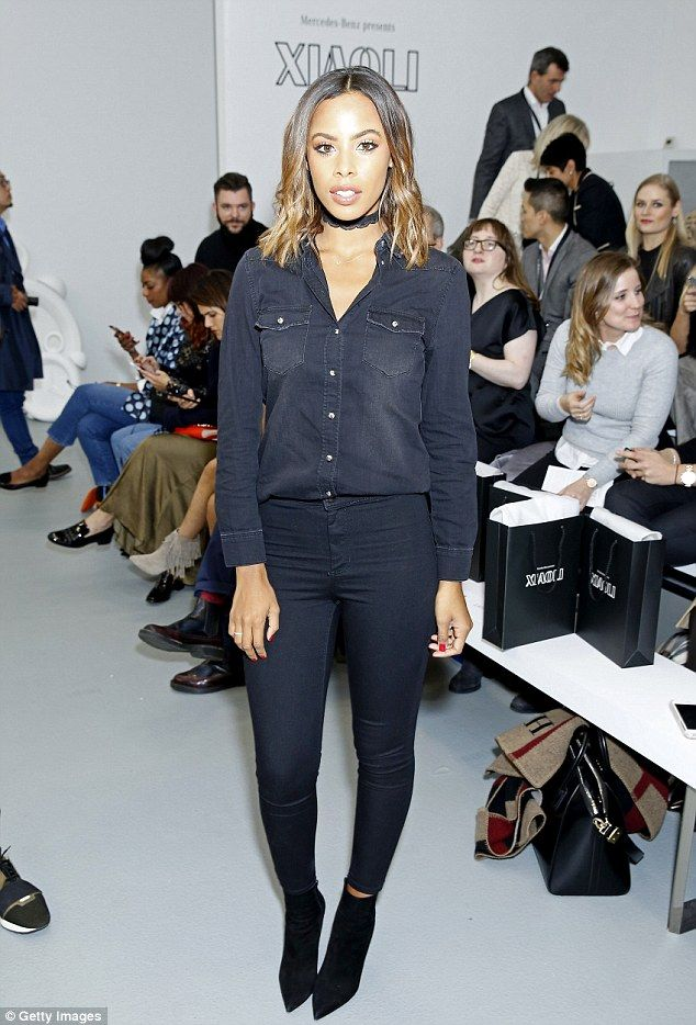 Rochelle Humes shows off her svelte figure in super skinny jeans as she coordinates with dapper husband Marvin at LFW show | Daily Mail Online