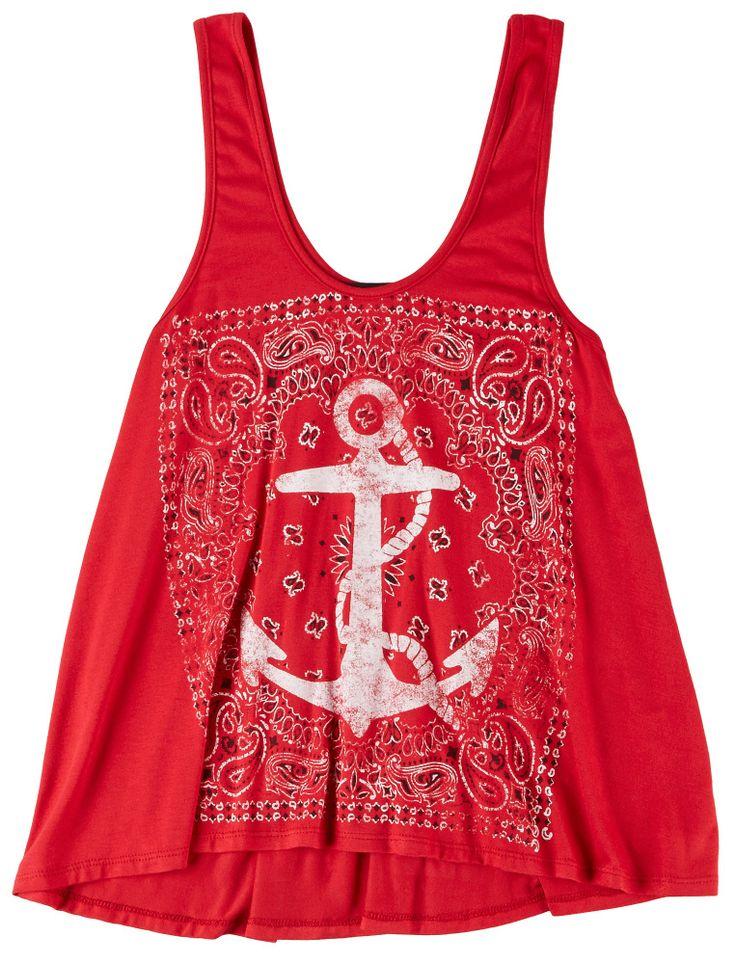 Bright Red Living Doll L.A. Bandana Anchor Tank Top! #BeallsFlorida