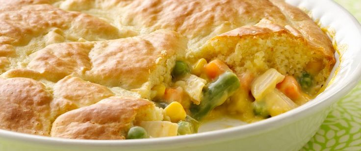 This pot pie couldn't be easier.  It's loaded with chicken and vegetables in a creamy sauce and baked under an impossibly easy crust.