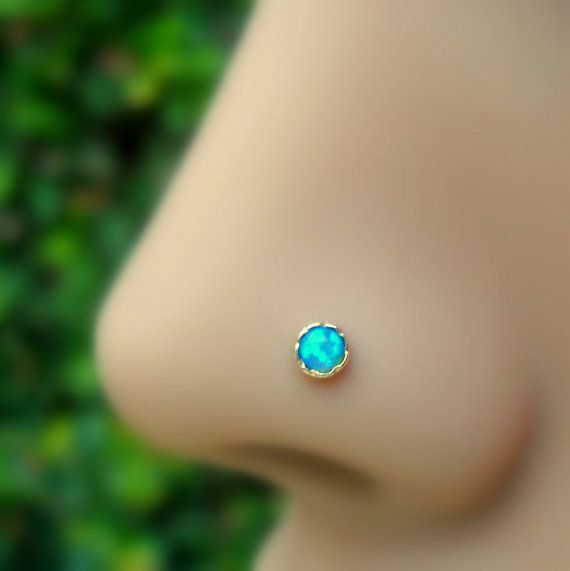 Blue Opal Nose Ring/Tragus Earring/Cartilage Earring Stud 14K Rose Gold Filled Handcrafted 3mm Stone