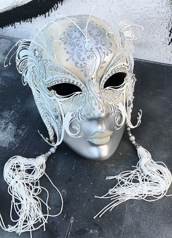 Venetian White Glitter Lining Carnival Masquerade Mask