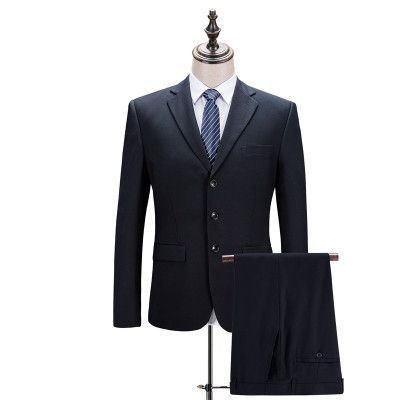 (Jackets+Pants) Navy Blue Solid Color Working Suit Men's Suits Business Suits Formal Wear High Quality Brand Blazer Gent Life