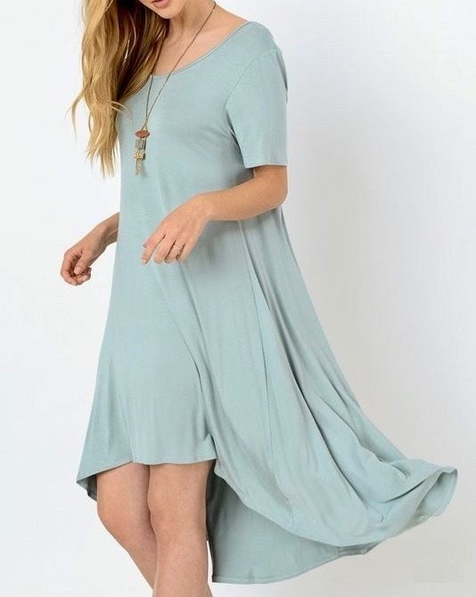 SOUTHERN GIRL FASHION $58 Classic High Low Swing Dress Bohemian Solid Midi Tunic #Boutique #Tunic #Casual