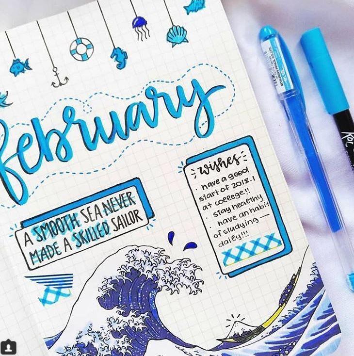 aesthetic #blue #journal #journaling #bulletjournal | Titulos bonitos para  apuntes, Agendas, Planificador