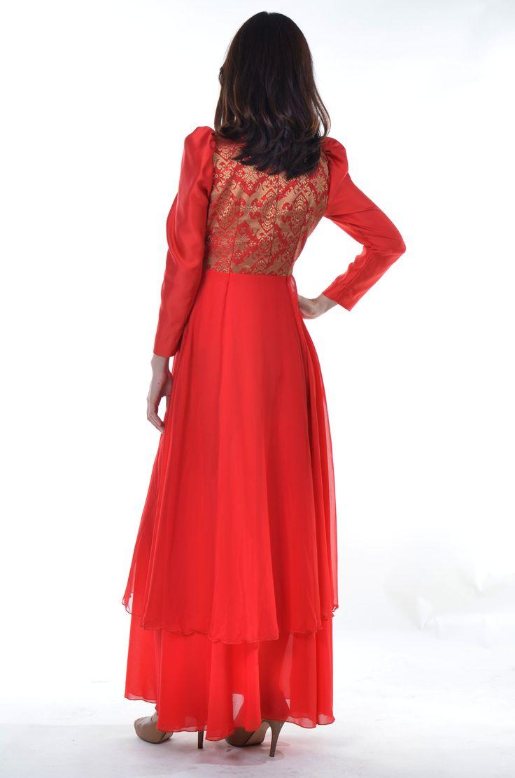 Long Red Dress Chiffon Satin with Songket