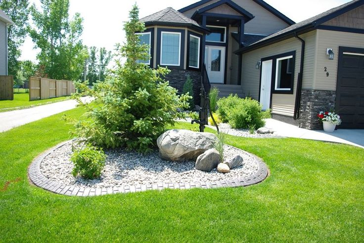 Front yard landscaping idea around a tree.