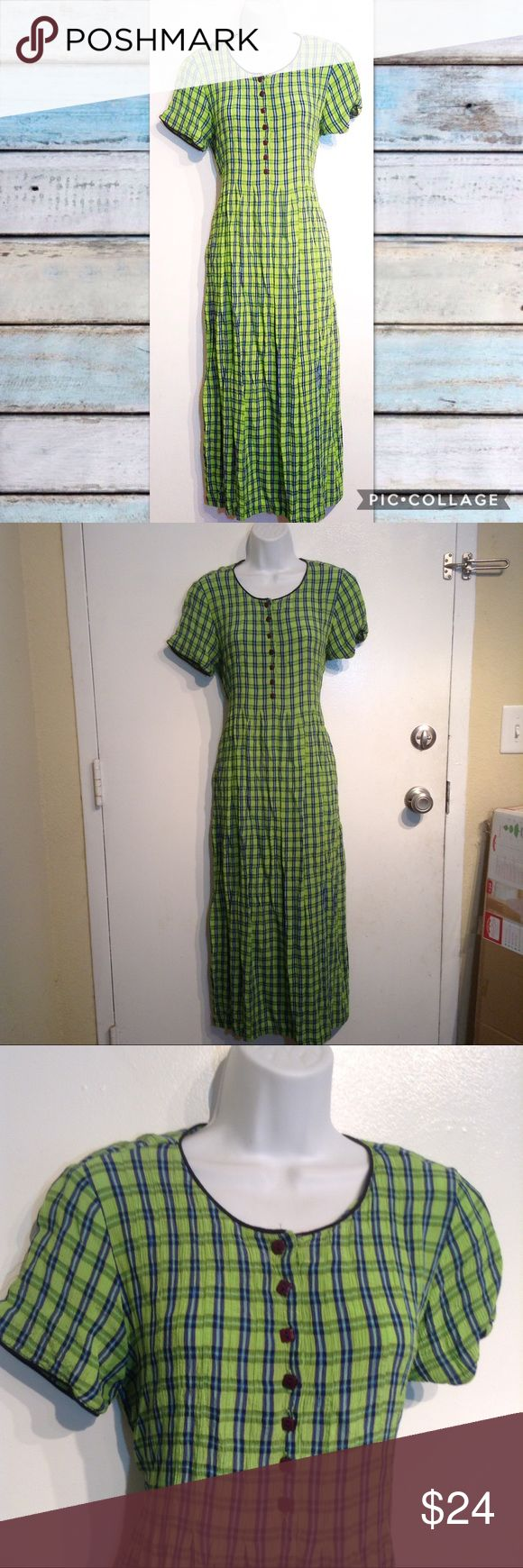"VTG 90s Lime Green Checkered Plaid Midi Dress Vintage 90s Sarah Elizabeth lime  green and blue long dress. Would be midi or maxi length depending on height. Buttons at bust and ties at waist. Only flaw is it used to have a snap at the top but one side is missing. You can't even tell when wearing. Perfect for a 90s hipster grunge look. Size 8. Measures 18.5"" flat from armpit to armpit and 49"" long. No modeling. Smoke free home. I do discount bundles. Vintage Dresses Midi"