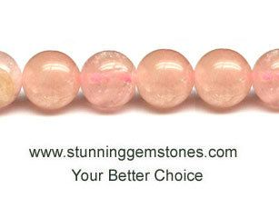 Wholesale Natural Pink Morganite Round Beads 8mm, A Grade, per 16 inch strand
