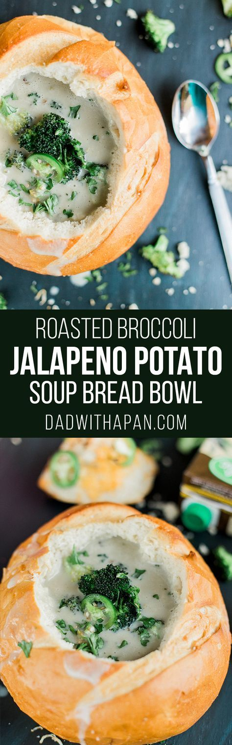 This potato soup bread bowl with roasted Parmesan broccoli and jalapeno has amazing texture and flavor with a bit of heat to warm you up on a cold day!