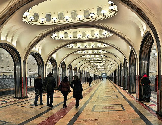 Photo-essay on the vast Moscow Metro stations built in the '50s.