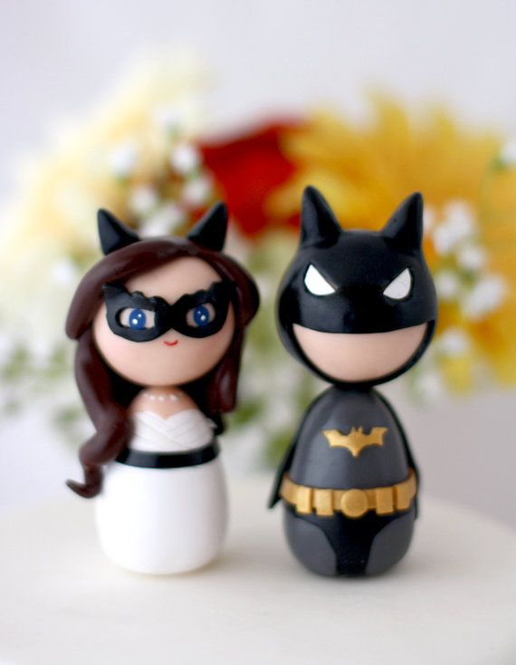 Custom Wedding Batman Cat Woman toppers by Chikipita on Etsy