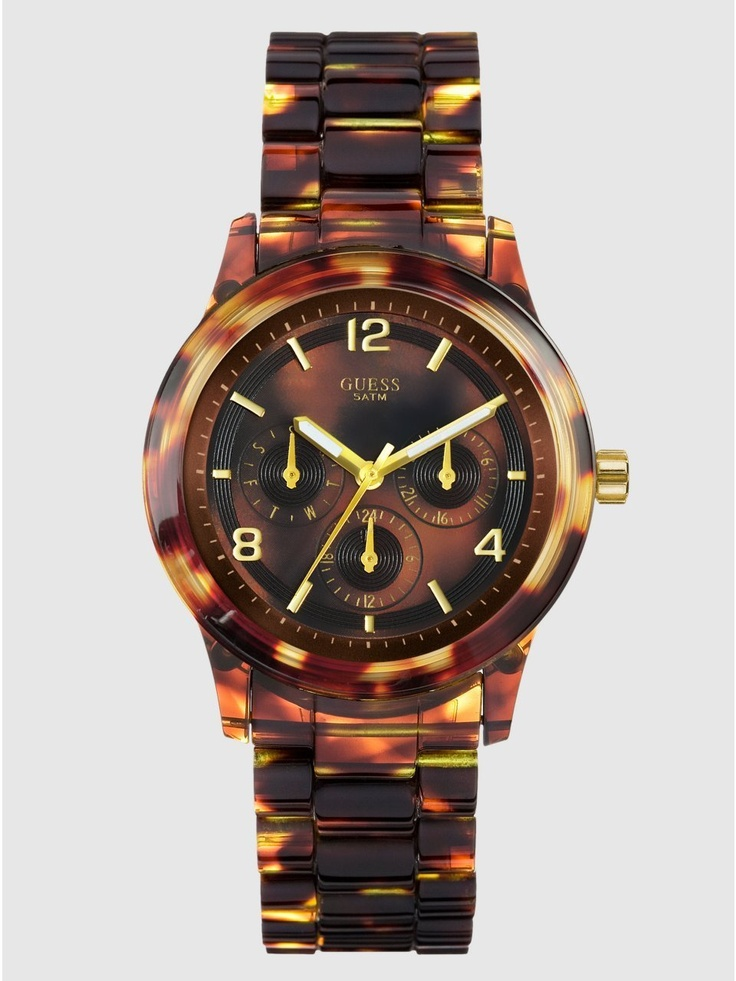 Want!!  GUESS Feminine Contemporary Watch - Tortoise, (fossil, watches, ak anne klein watches, casual watch, guess, womens watch, ak anne klein, anne klein, plastic watches, womens watches)