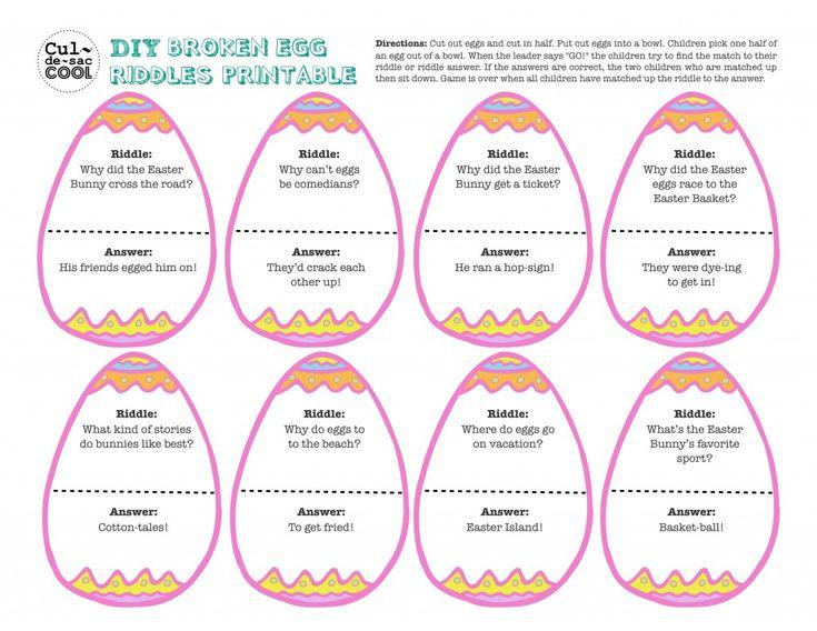 DIY Printable - Broken Egg Riddles Game