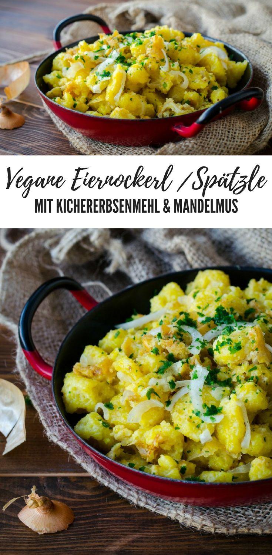 Rezept für vegane Eiernockerl / Spätzle mit Kichererbsenmehl und Mandelmus. Veganes Rezept deutsch: Mittagessen, Abendessen, schnell, lecker und gesund. Ohne Ei. vegan.