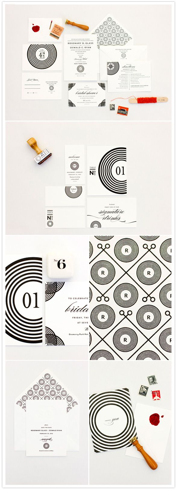 bold black and white wedding invites inspired by vinyl records by mae mae paperie
