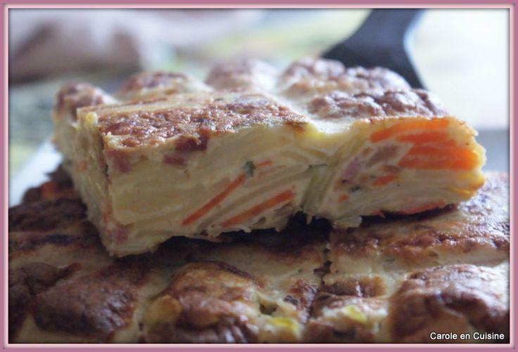 Gâteau de pommes de terre, courgettes & bacon
